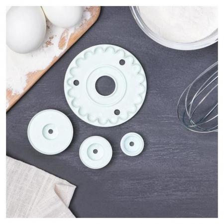 Набор кондитерских выемок для марципана и теста, 3 предмета: печать кондитерская 9х2 см, 2 насадки  Доляна