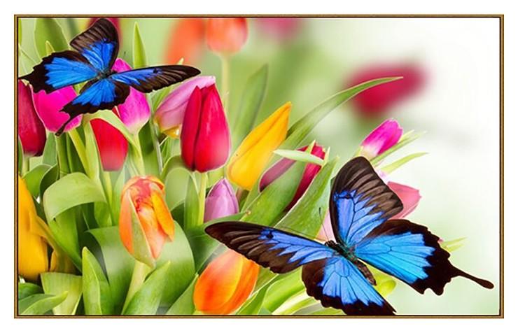 """Алмазная мозаика """"Бабочки в тюльпанах"""", 33 цвета  Milato"""