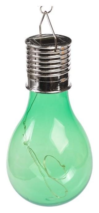 """Фонарь садовый на солнечной батарее """"Лампочка зеленая"""", 5 Led, пластик, на прищепке  LuazON"""