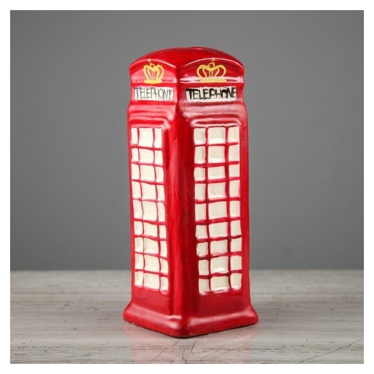 """Копилка """"Телефонная будка"""", глянец, красный цвет, 16 см  Керамика ручной работы"""