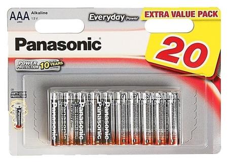 Батарейка алкалиновая Panasonic Everyday Power, Aaa, Lr03-20bl, 1.5в, блистер, 20 шт.  Panasonic