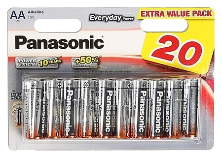 Батарейка алкалиновая Panasonic Everyday Power, AA, Lr6-20bl, 1.5в, блистер, 20 шт.  Panasonic