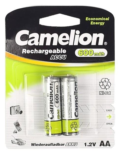 Аккумулятор Camelion, AA, Ni-cd, Kr6-2bl (Nc-aa600bp2), 1.2в, 600 мач, блистер, 2 шт.  Camelion