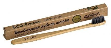 Бамбуковая зубная щетка Aasha с угольной щетиной, мягкая  Aasha Herbals