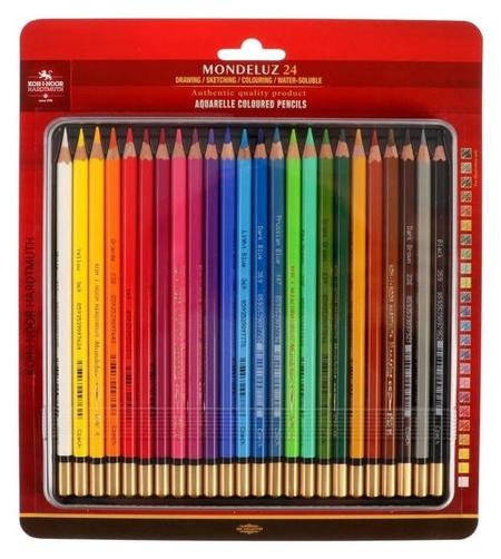 Карандаши художественные акварельные 24 цвета Koh-i-noor Mondeluz, в металлическом пенале + блистер  Koh-i-noor