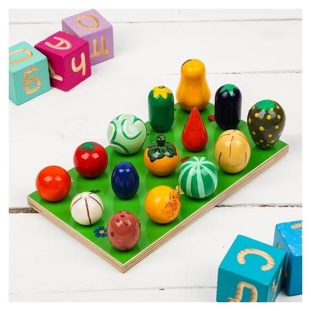 Счетный материл «Грядка. овощи-фрукты»  Деревянные игрушки Динни