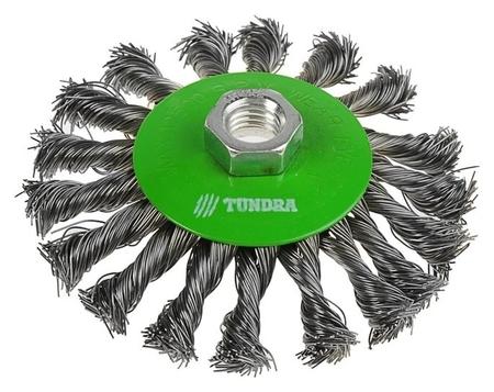 "Щетка металлическая для УШМ Tundra, крученая проволока, ""Тарелка"", м14, 115 мм  Tundra"