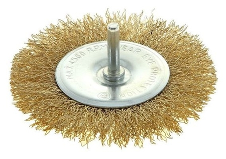 Щетка металлическая для дрели Tundra, со шпилькой, плоская, 100 мм  Tundra