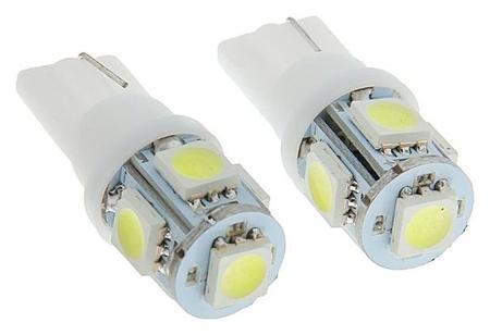 Автолампа светодиодная Torso T10 W5w, габарит, 12 В, 5 Smd-5050, 2 шт., свет белый  Torso