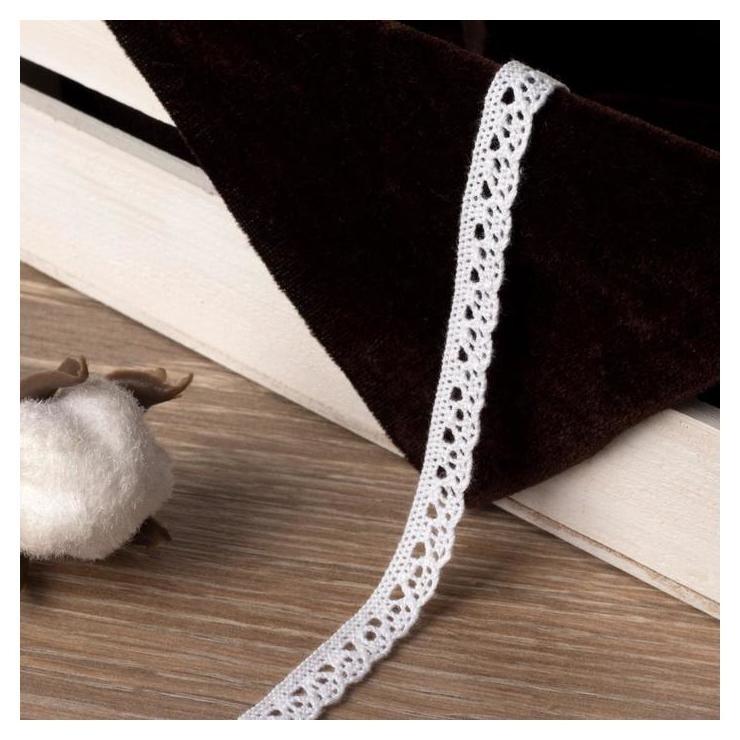 Кружево вязаное, 10 мм × 15 ± 1 м, цвет белый  Арт узор