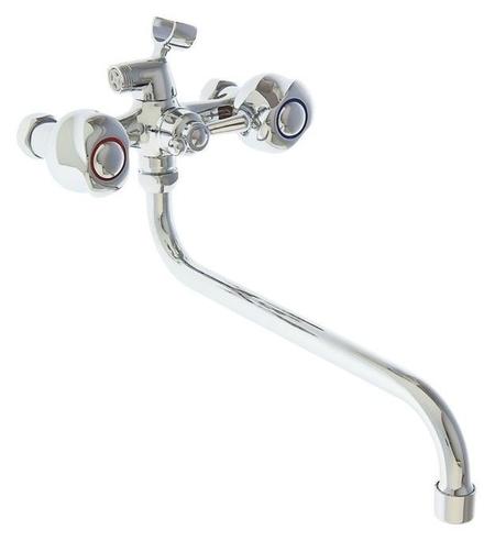 Cмеситель для ванны Accoona A7377, двухрычажный, излив 300 мм, хром  Accoona