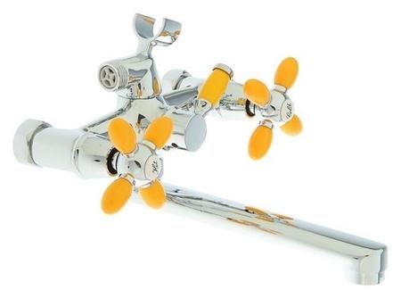 Смеситель для ванны Accoona A6482h, двухрычажный, желтый/хром  Accoona