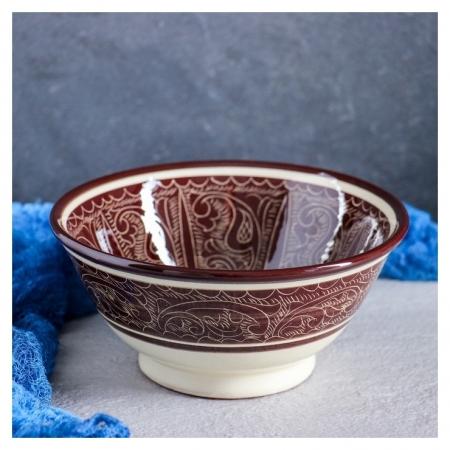 Коса большая, риштанская роспись, 18 см, коричневая  Риштанская керамика
