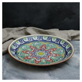 Ляган круглый «Риштан», 41 см, белый с синим, красно-жёлто-зелёный узор  Риштанская керамика