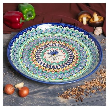 Ляган круглый «Риштан», 36 см, зелёно-синий узор  Риштанская керамика