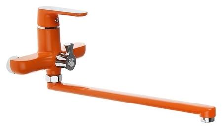 Смеситель для ванны Accoona A7166p, однорычажный, дивертор в корпусе, 30 см, оранжевый  Accoona