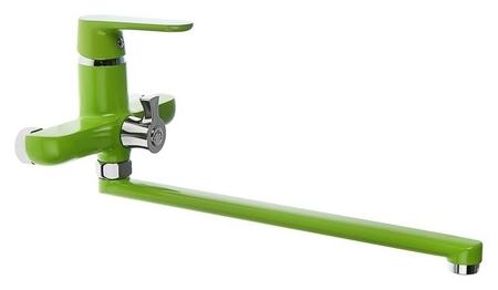 Смеситель для ванны Accoona A7166k, однорычажный, дивертор в корпусе, 35 см, зеленый Accoona