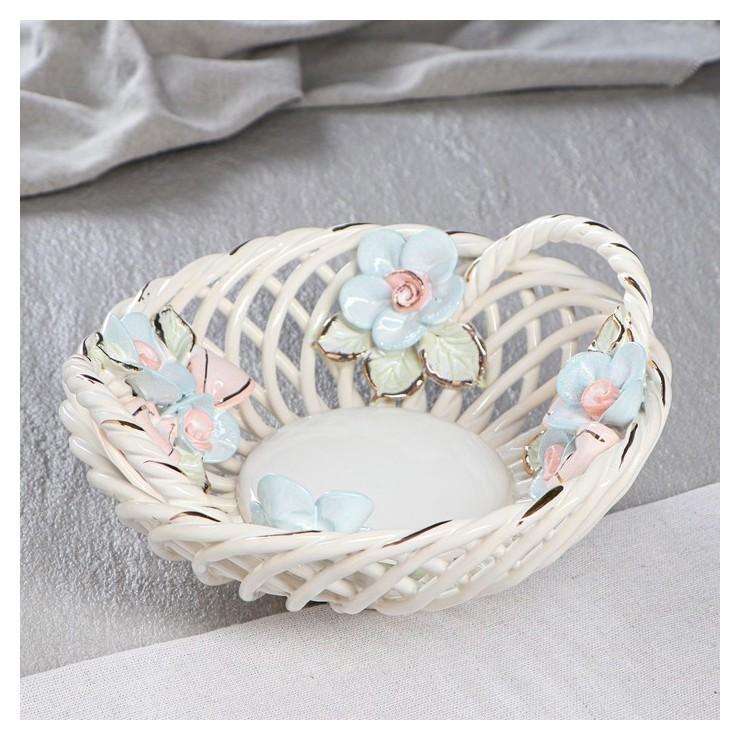 """Конфетница """"Люси"""", цветная лепка, цветы, плетение, 8 см  Керамика ручной работы"""