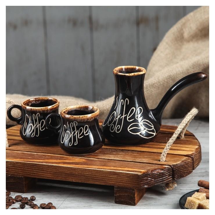 """Набор кофейный """"Кофе"""", 3 предмета: турка 0.2 л, чашки 0.1 л  Керамика ручной работы"""