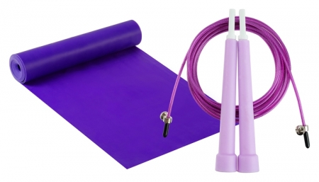 Набор для фитнеса (Эспандер ленточный+скакалка скоростная), цвет фиолетовый Onlitop