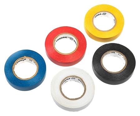 Изолента Tundra, пвх, 15 мм х 20 м, 130 мкм, набор 5 шт.(Черный/синий/красный/белый/желтый)  Tundra
