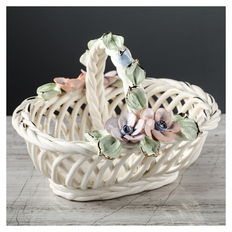 """Конфетница """"Олька"""", цветная лепка, плетение, 12 см  Керамика ручной работы"""