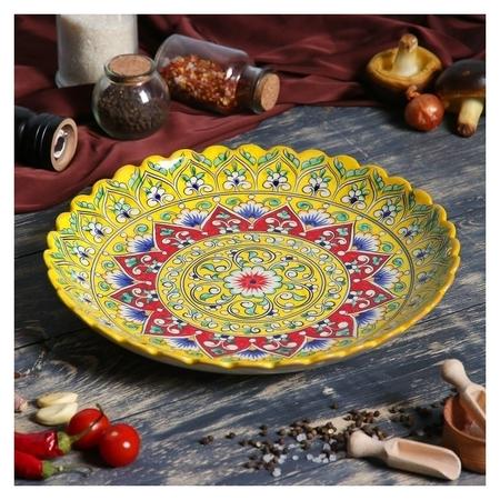 Ляган рифленый 31см жёлтый  Риштанская керамика