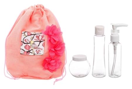 """Набор """"С 8 марта!"""": косметичка-мешок и 3 ёмкости для косметики  Чистое счастье"""