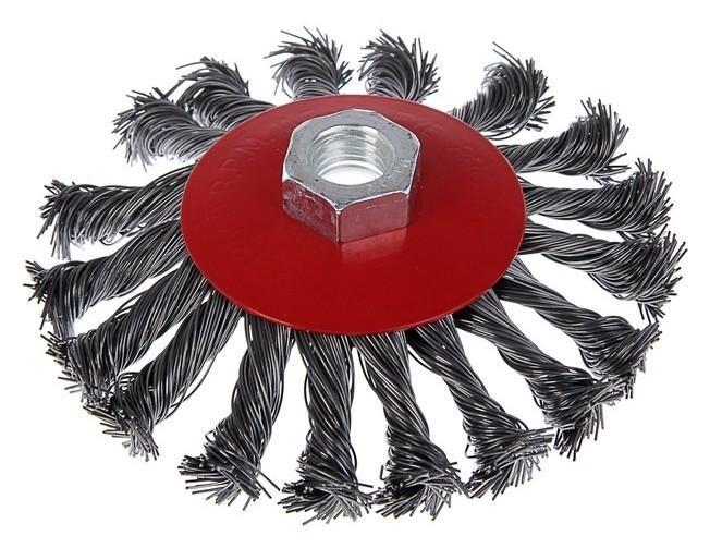 """Щетка металлическая для УШМ Lom, крученая проволока, """"Тарелка"""", м14, 115 мм  LOM"""