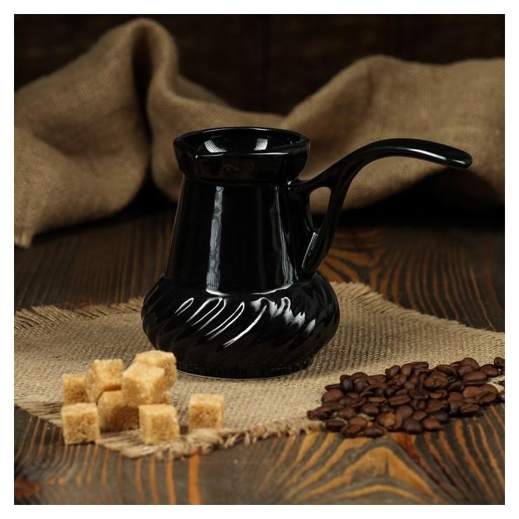 Турка для кофе, чёрный, 0.3 л  Керамика ручной работы