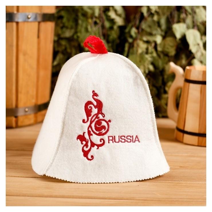 "Колпак для бани шапка ""Russia"" белая  Добропаровъ"