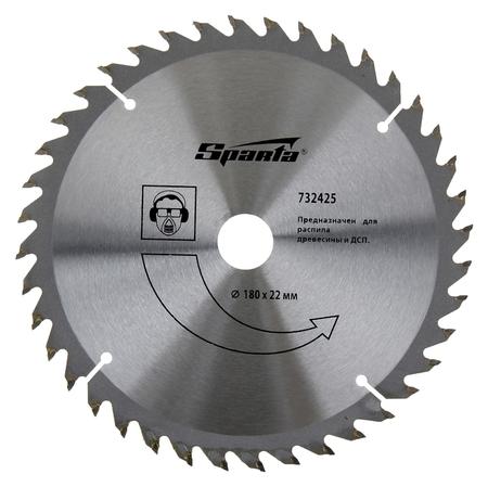 Пильный диск по дереву Sparta, 180 х 22 мм, 40 зубьев  Sparta