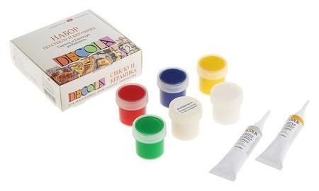 Набор красок по стеклу и керамике Decola: 5 цветов х 20 мл, 2 контура х 18 мл, разбавитель  Невская палитра