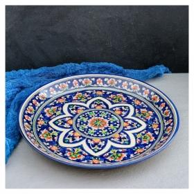 Ляган круглый «Риштан», 36 см, синий, орнамент красные цветы  Риштанская керамика
