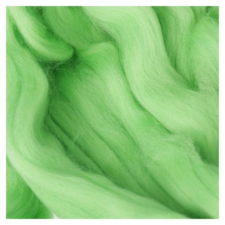 Гребенная лента 100% тонкая мериносовая шерсть 100гр (3295, яркий салат)  Троицкая камвольная фабрика