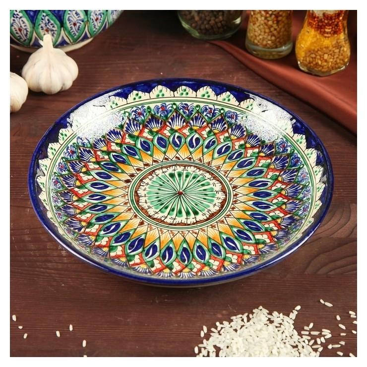 Ляган круглый, 24,5 см  Риштанская керамика