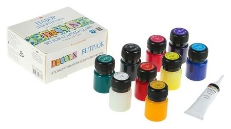 Набор витражных красок по стеклу Decola, 9 цветов, 20 мл + контур  Невская палитра