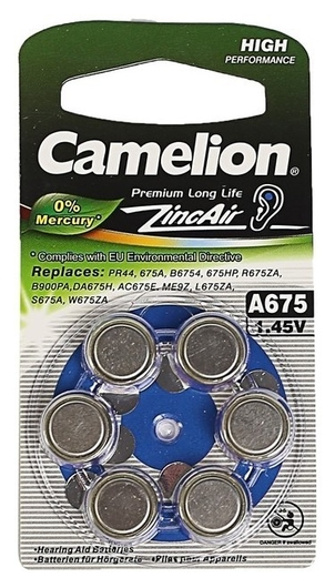 Батарейка цинковая Camelion, A675 (Pr44)-6bl, для слуховых аппаратов, 1.45в, блистер, 6 шт.  Camelion