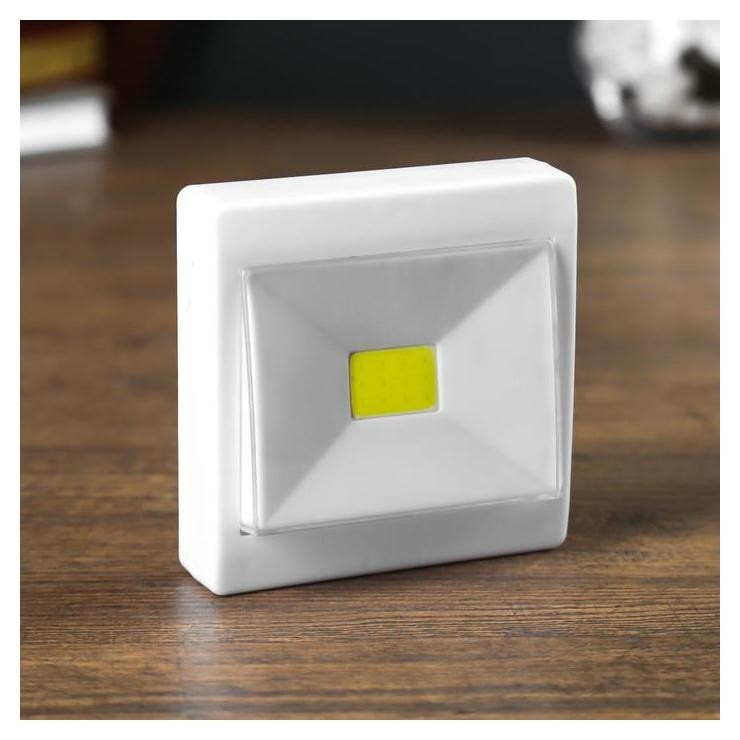 "Ночник LED пластик на магните от батареек ""Выключатель однокнопочный"" 2,5х8х10 см  КНР"
