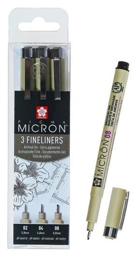 Ручка капиллярная, набор Sakura Pigma Micron, 3 штуки (0.3, 0.4, 0.5), чёрный  Sakura