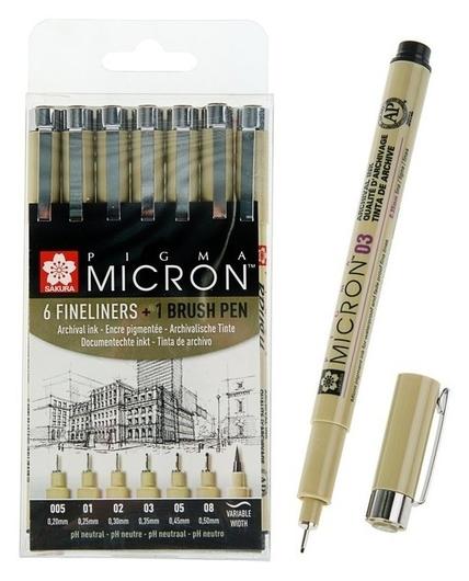 Набор ручек капиллярных для графики и черчения Sakura Pigma Micron 7 штук (0.2, 0.25, 0.3, 0.35, 0.45, 0.5, Brush), цвет чёрный  Sakura