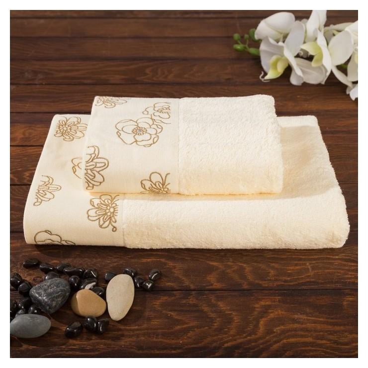 Комплект махровых полотенец в коробке Fiesta Exclusive, размер 70х140 см, 50х90 см, цвет шампань, бамбук Fiesta