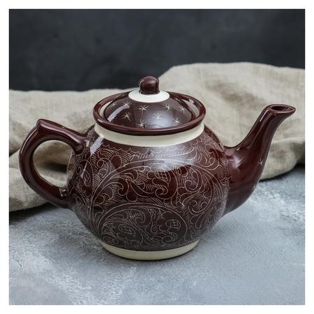 Чайник 0.7 л, риштанская роспись, коричневый