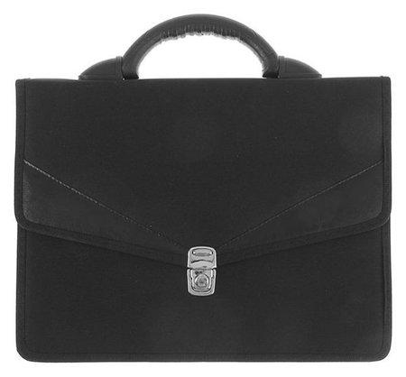 """Портфель деловой ткань 350 х 260 х 100 мм,""""Ладога"""", комбинированный, 2 отделения, чёрный  Канцбург"""