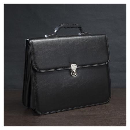 Сумка-портфель мужская на молнии, 2 отдела, цвет чёрный  Алекс