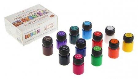 Набор красок по стеклу и керамике Decola, 12 цветов, 20 мл  Невская палитра