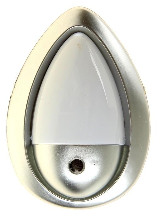 """Ночник """"Светлячок"""" с датчиком освещения, 3_led х 1 Вт, 10 см (220в) серебристый  КНР"""