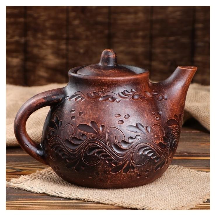 Чайник большой декор, 2 л  Красная глина