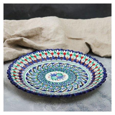 Тарелка плоская, рифленая 27 см  Риштанская керамика