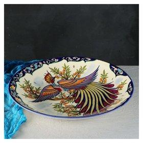 Ляган Жар-птица 42 см Риштанская керамика